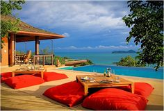 An oasis of tropical luxury, Sri Panwa in Phuket, Thailand offers 60 spacious villas with swimming pool, nestled in 13 acres of lush virgin rainforest, perched high atop Cape Panwa and commanding breathtaking views.
