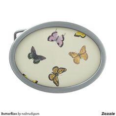 Butterflies Oval Belt Buckles
