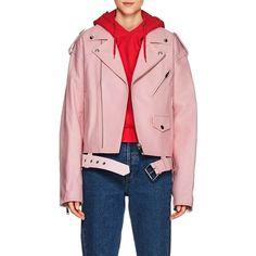 Ambush Women's Leather Oversized Moto Jacket ($2,095) ❤ liked on Polyvore featuring outerwear, jackets, pink, leather motorcycle jacket, pink motorcycle jacket, biker jackets, pink biker jackets and pink leather jackets