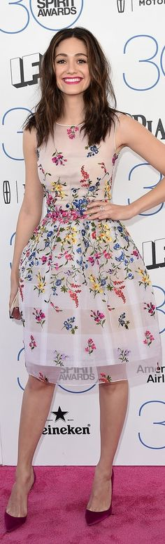 Emmy Rossum in a floral Oscar de la Renta dress at the Spirit Awards