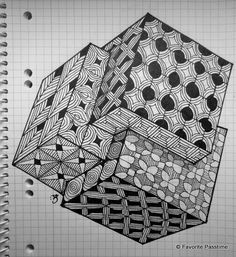 how to draw zentangle cube Doodle Art Drawing, Zentangle Drawings, Doodles Zentangles, Art Drawings, Tangle Doodle, Tangle Art, Zen Doodle, Doodle Patterns, Zentangle Patterns