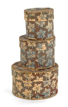 "Set of three Pennsylvania wallpaper boxes, mid 19th c., with an oak leaf decoration, stack height - 7 1/4"". pook  pook"