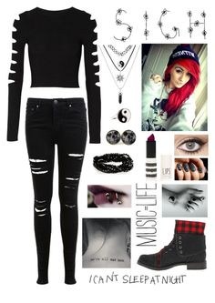 A fashion look from November 2015 featuring ribbed crop top, destroyed skinny jeans and black platform booties. Browse and shop related looks. Cute Emo Outfits, Scene Outfits, Punk Outfits, Teen Fashion Outfits, Gothic Outfits, Grunge Outfits, Outfits For Teens, Girl Outfits, Punk Fashion