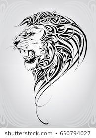 Lion Head Ornament Stock Vector (Royalty Free) 650794027 - Lion head in the ornament – buy this vector on Shutterstock & find other images. Lion Tribal, Tribal Lion Tattoo, Lion Head Tattoos, Lion Tattoo Design, Leo Tattoos, Tattoo Design Drawings, Animal Tattoos, Tribal Art, Tattoo Designs Men
