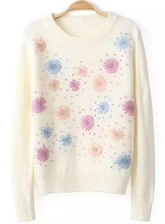 White Long Sleeve Sunflower Pattern Sweater 26.67