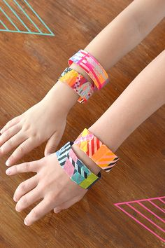 Kids and teens can make these colorful and easy bracelets with duct tape and washi tape.