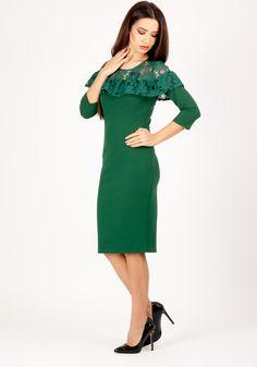 Rochie MOZE conica cu basc din dantela la bust. Lungimea produsului la marimea 42 este de 104 cm. Cold Shoulder Dress, Dresses, Fashion, Green, Fashion Styles, Dress, Fashion Illustrations, Gown, Trendy Fashion