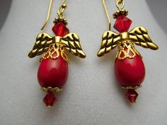 Summer Earring Red Dangle Earring Swarovski Crystals Red