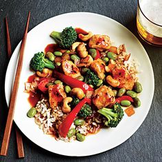 Honey Cashew Chicken with Rice - A new staple at our house. Use a bit less sriracha - it's really spicy. RH.