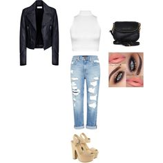 #boyfriendjeans #leather #platform #purse #lips #eyes by thal-1 on Polyvore featuring polyvore, fashion, style, WearAll, Balenciaga, Genetic Denim, Lipsy and Michael Kors