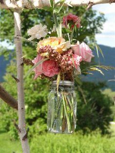 Mason Jar Flower Centerpieces | ... and Creative Design, Ltd. · Fresh flower arrangements in mason jars