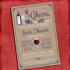 Printable Wine theme 30th 40th 50th 60th Birthday by PuzzlePrints, $15.00