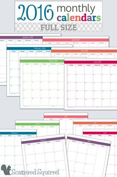 They're here! The 2016 monthly calendars are ready for you to start downloading. These Full-Size monthly planner printables are perfect for teachers, students, homeschooler, or anyone looking to get a jump start on next year's planner.