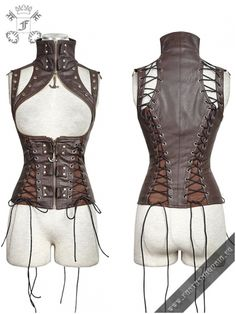 Y-674brn The Crypt - brown vest by punk rave. Women's corsage waistcoat | Gothic, Steampunk, Metal, Punk, Lolita, Fetish fashion style e-shop. Punk Rave, RQ-BL, Fantasmagoria clothing brands