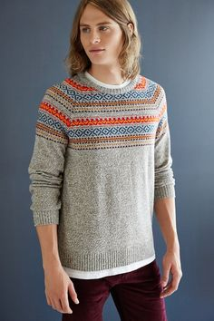 O'Hanlon Mills Blocked Fair Isle Crew-Neck Sweater - Urban Outfitters
