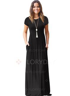 Dress - $41.99 - Cotton Solid Long Sleeve Maxi A-line Dress (1955268934)