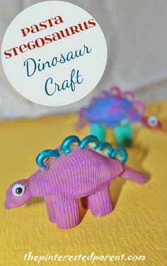 Pasta Stegosaurus Dinosaur Craft by terry Craft Projects For Adults, Fun Crafts For Kids, Craft Activities For Kids, Summer Crafts, Preschool Crafts, Art For Kids, Arts And Crafts, Art Projects, Vocabulary Activities
