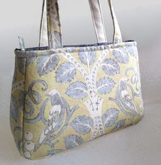 Elegant yellow and grey shoulder bag with birds, tote bag £22.00 Smart Outfit, Shades Of Yellow, Beautiful Gifts, Handmade Bags, Gifts For Friends, Reusable Tote Bags, Birds, Shoulder Bag, Personalized Items