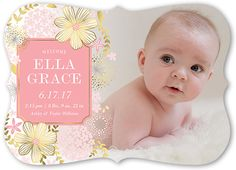 Birth Announcement: Brilliant Floral Band, Bracket Corners, Pink