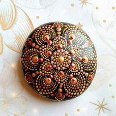 Handpainted dotted mandala stone, perfect as a decoration, paperweight or as a focusing point for meditation. Many people use them as part of their altar. Finished with 3-4 layers of glossy varnish. Hand painted art on a natural stone so there are might some imperfections but its surely unique, one Dot Art Painting, Rock Painting Designs, Mandala Painting, Stone Painting, Mandala Painted Rocks, Mandala Rocks, Painted Stones, Mandela Rock Painting, Mandala Meditation