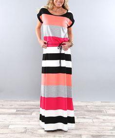 Look what I found on #zulily! Coral Color Block Tie-Waist Maxi Dress #zulilyfinds