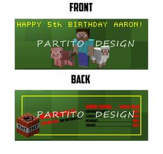MINECRAFT Custom Digital Printable Birthday Candy by PARTITODESIGN, $5.00