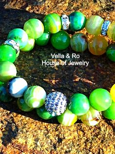 Gorgeous green agate with pave bead stretch bracelet set by Vella&Ro House of Jewelry