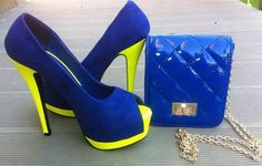 Blue and yellow high heels for fashion lady