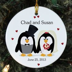 Personalized Ceramic Penguin Bride and Groom Christmas Ornament