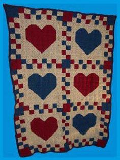 Happy Yellow House.com - Country Hearts Crochet Quilt - by C. L. Halvorson ~ free pattern