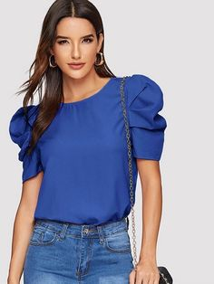 Cute Blouses, Blouses For Women, Fashion News, Fashion Outfits, Plain Tops, Basic Outfits, Summer Outfits, Blouse Outfit, Spandex Material