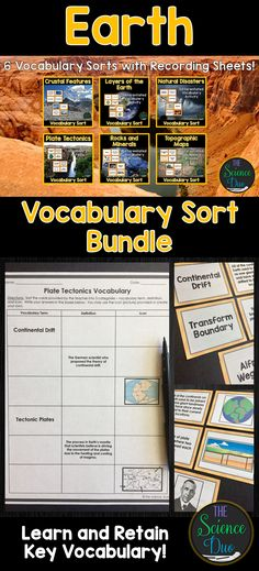 Help your students grasp and retain key Earth Science vocabulary.  Concepts covered include: Plate Tectonics, Layers of the Earth, Rocks and Minerals, Topographic Maps, Crustal Features, and Natural Disasters. Science Vocabulary, Science Lessons, Science Activities, Middle School Teachers, Middle School Science, Teaching Strategies, Teaching Resources, 8th Grade Science, Weather And Climate