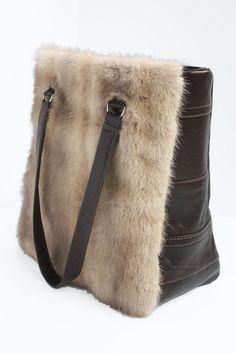 Large recycled clear mink fur bag by saketsakoch on Etsy