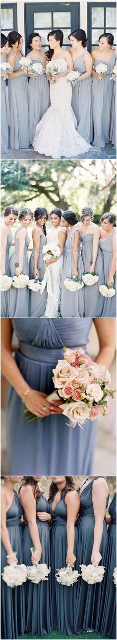Dusty blue bridesmaid dresses ideas for fall weddings