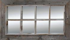 8 Pane Window Pane Mirror - Reclaimed Barnwood : MyBarnwoodFrames.com   Barnwood Frames, Rustic Picture Frames, Rustic Mirrors & Home Decor