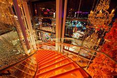 SushiSamba designed by CetraRuddy (view of stairs descending into SushiSamba Lounge)