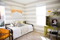 White and light grey stripes... Light enough for a small room and makes the room seem wider