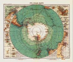 """Antique Map of Antarctica 1912 Antique map reproduction of Antartica created by A. Petermann circa This beautifully drawn antique map is originally entitled """"Sud Polar Karte"""" and depicts the continent of Antartica. Vintage Maps, Antique Maps, Bel Art, Map Globe, Old Maps, Historical Maps, Grafik Design, Shabby, Scrapbook"""