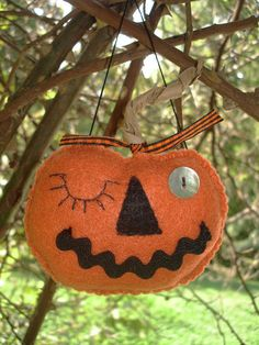 Folk Art Primitive Winking Pumpkin Halloween by MyDisgustedCats, $8.00
