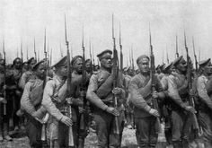 World War I imperial Russian infantry presenting arms. Poorly trained and equipped, they became canon fodder in the battles with the Germans.