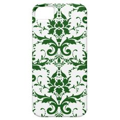 Forest Green and White Damask iPhone 5 Case
