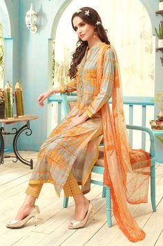 Party Wear Lawn Cotton Digital Print Embroidered Straight Cut Dress