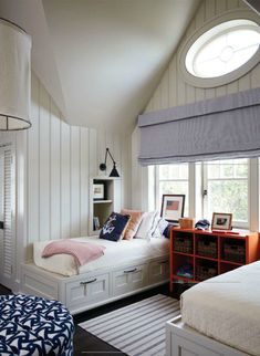 AMERICA - This design is coastal-inspired, with its white wooden wall panels and nautical accessories. It could be straight out of a Hamptons beach house! outside mount roman shade beaufort+beach+house+wills+bedroom. Beach House Bedroom, Home, House, Room, Bedroom Design, Traditional House, Nautical Room, Coastal Living Rooms, Home Bedroom