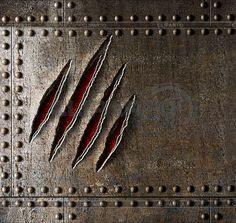Коготь царапины на броню фоне металлической стенки   Фото большого размера   ID 4647293