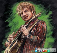 My digital painting of Ed Sheeran ! Created with Photoshop and lots of love ♥ Visit me on Twitter and Instagram to see more of my creations ! (Jarlie86)  #art #painting #wacom #edsheeran