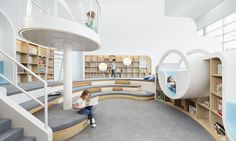 Kindergarten Architecture design - Designed by PAL Design, NUBO is a beautiful space created to give children the ultimate in pure play while managing to keep the space minimal and clean Kindergarten Architecture, Kindergarten Interior, Kindergarten Design, Kids Library, Library Design, Design Maternelle, Childrens Play Centre, Interior Architecture, Interior Design