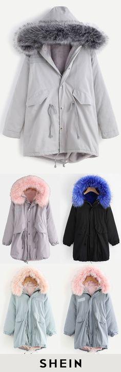 Faux Fur Trim Drawstring Fleece Inside Hooded Coat