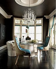 That chandelier.... and the molding. And the wall/ceiling color. This whole room.