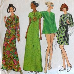 Vintage Vogue 60s Short and Long Caftan Cover Up Dress Sewing Pattern