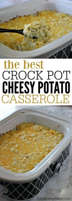 You are going to love this quick and easy crock pot cheesy potato casserole recipe. Finally a delicious casserole that won't heat up your kitchen!
